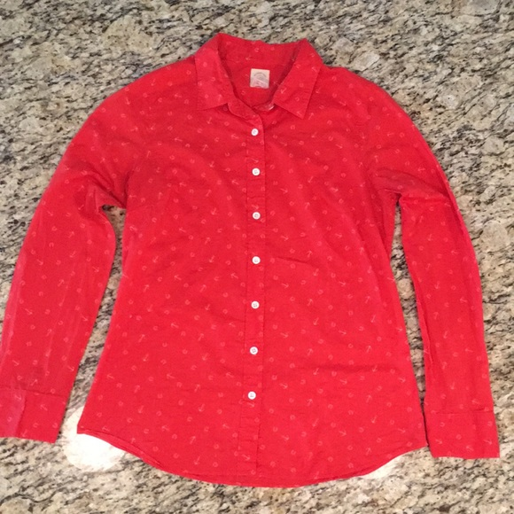 17ae53d9 J. Crew Tops | J Crew Red Anchors Horseshoes Pattern Button Up ...